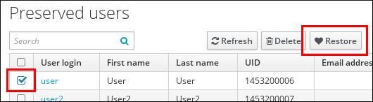 Restoring a User