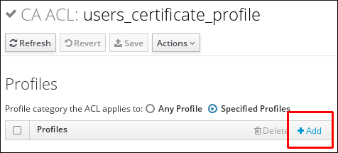 Adding a Certificate Profile to the CA ACL