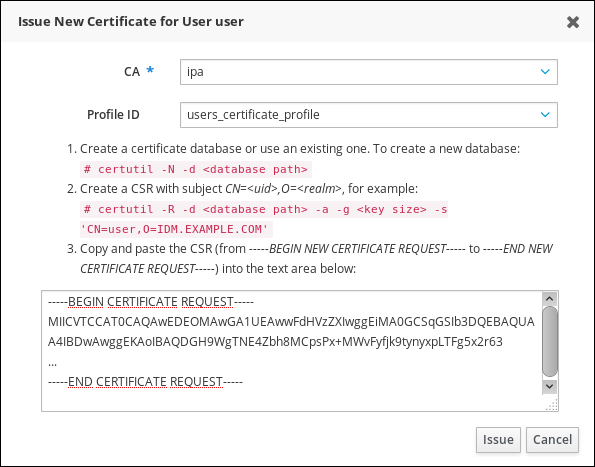 Issuing a Certificate for a User