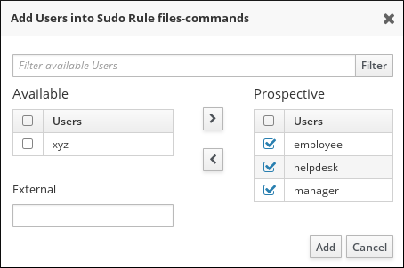Selecting Users for a sudo Rule