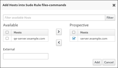 Selecting Hosts for a sudo Rule