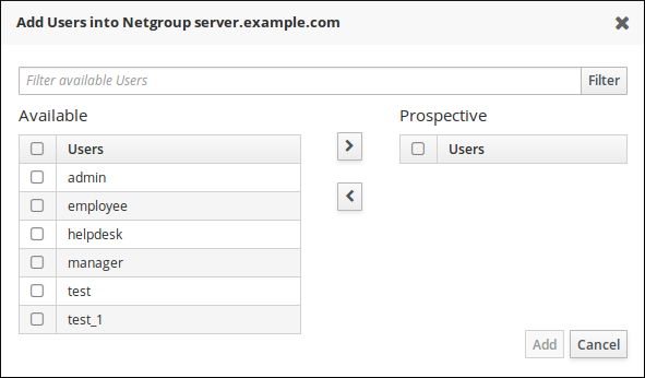 Add User Menu in the Netgroup Tab