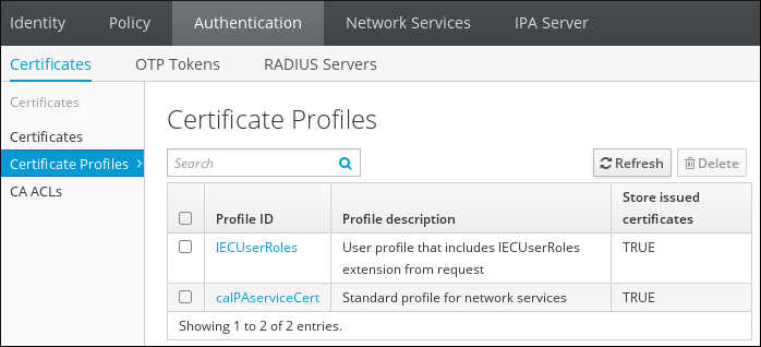 Certificate Profile Management in the Web UI