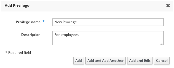 Form for Adding a Privilege