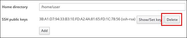 ユーザーの SSH 公開鍵の削除