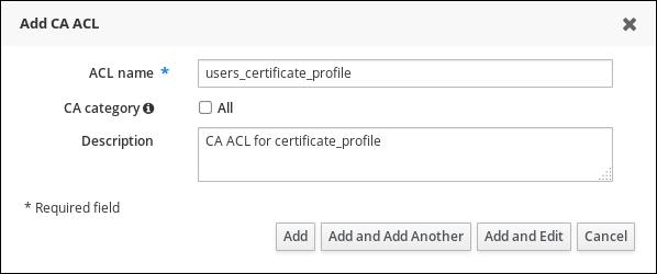 新規 CA ACL の追加