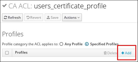 CA ACL への証明書プロファイルの追加