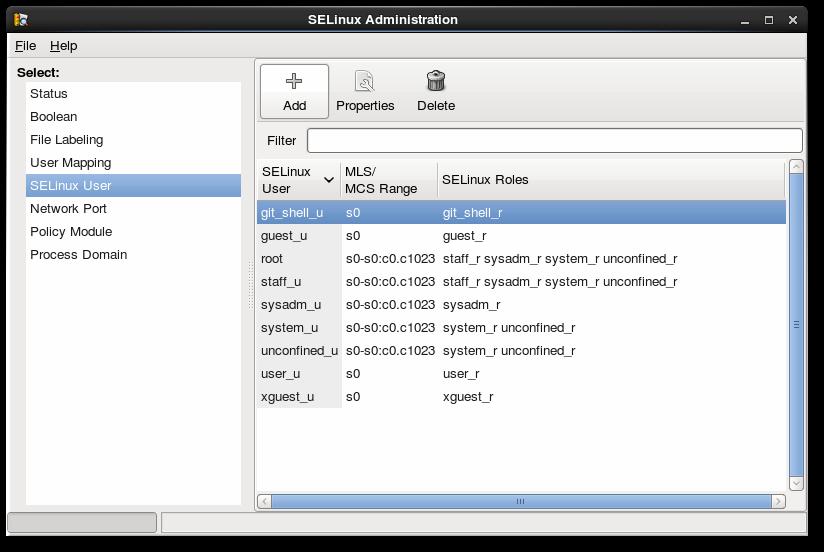 SELinux マネージャーの SELinux ユーザー