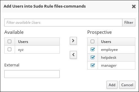 sudo ルール向けにユーザーを選択する