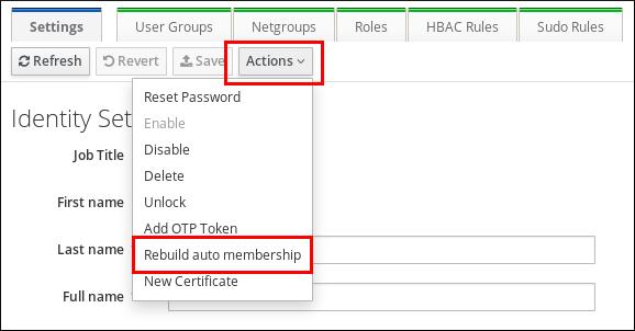 単一のユーザーまたはホストの自動メンバーシップの再構築
