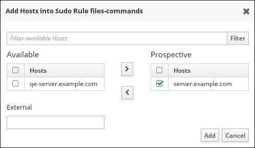sudo ルール用のホスト選択
