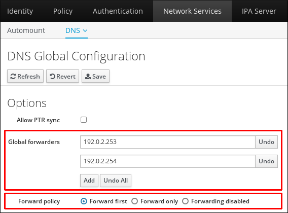 Web UI でのグローバル DNS 設定の編集