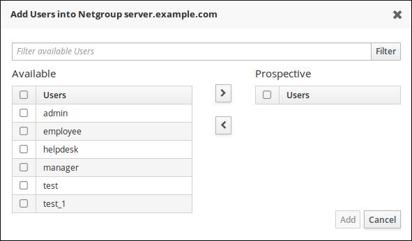 Netgroup タブでのユーザー追加メニュー