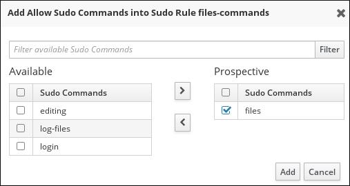 sudo ルール向けにコマンドを選択する