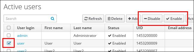 ユーザーアカウントの無効化または有効化