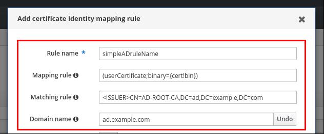 AD に保存されている証明書を持つユーザーに対する証明書マッピングルール