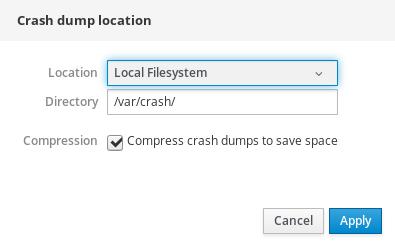 Web コンソールの crashdump ターゲット