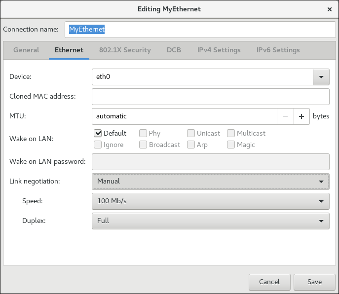 Configure 802.3 link settings using nm-connection-editor