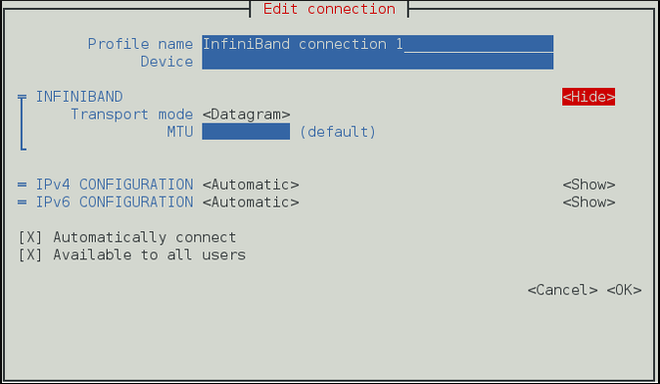 The NetworkManager Text User Interface Configuring a InfiniBand Connection menu