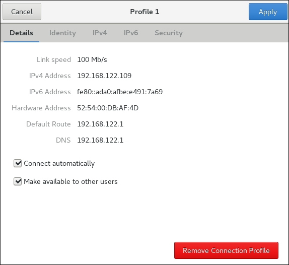 Configure Networks Using the Network Connection Details Window