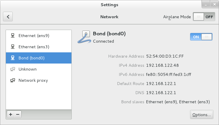 The NetworkManager Graphical User Interface with Bond