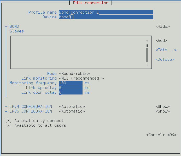 The NetworkManager Text User Interface Configuring a Bond Connection menu