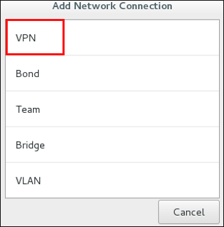 Selecting the VPN menu
