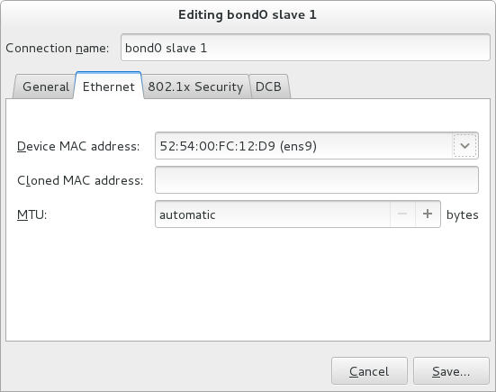 The NetworkManager Graphical User Interface Add a Bond Connection menu