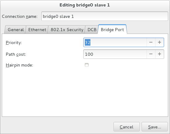The NetworkManager Graphical User Interface Bridge Port tab