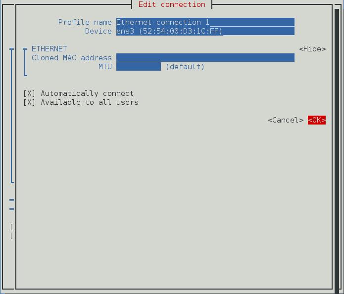Pour que l'interface texte d'utilisateur du NetworkManager configure un menu de connexion de liaison esclave