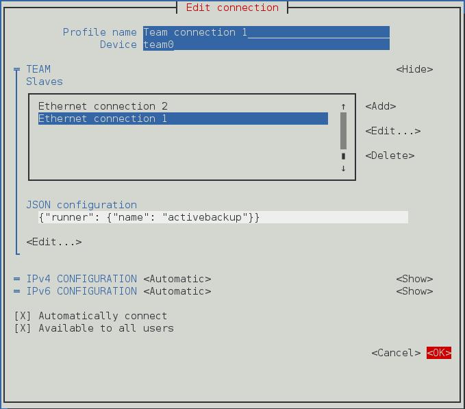 Pour que l'interface utilisateur texte du NetworkManager configure un menu de connexion Team