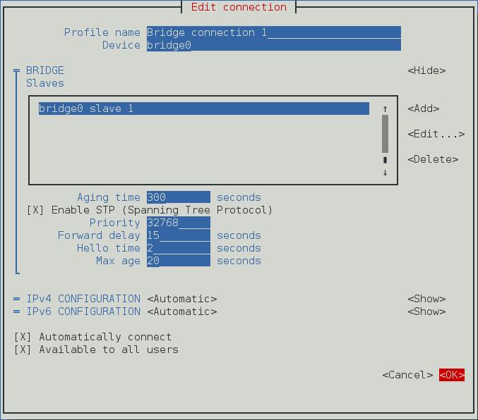 Pour que l'interface texte d'utilisateur du NetworkManager configure un menu de pontage