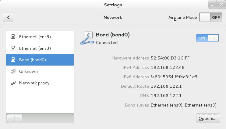 Interface utilisateur graphique du NetworkManager avec Liaison