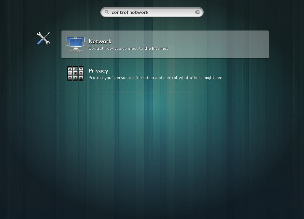 L'utilitaire de réseau sélectionné dans GNOME