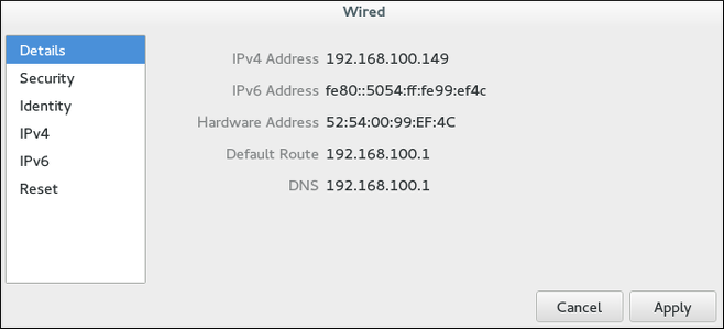 Configurer les réseaux par la fenêtre des détails de connexion réseau
