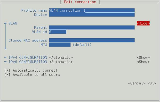 Pour que l'interface utilisateur texte du NetworkManager configure un menu de connexion VLAN