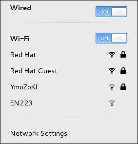 Le menu de réseau GNOME, qui montre toutes les réseaux disponibles ou auxquels on est connectés