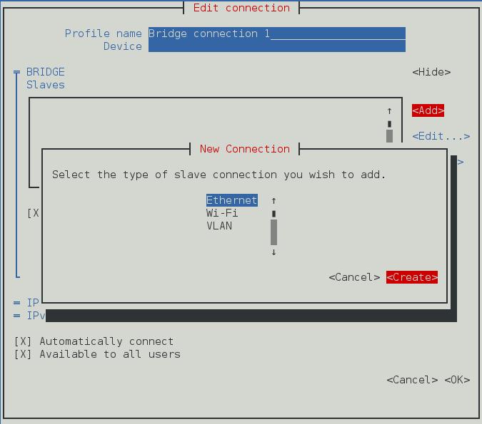 Pour que l'interface utilisateur texte du NetworkManager ajoute un nouveau menu de connexion de pont esclave