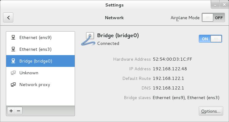 Interface utilisateur graphique du NetworkManager avec Pontage