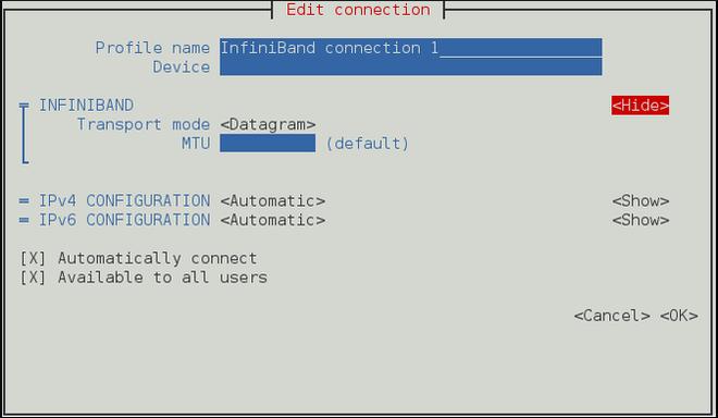 NetworkManager テキスト形式ユーザーインターフェースで InfiniBand 接続を設定するメニュー