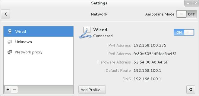 ネットワーク設定ウィンドウを使用したネットワークの設定