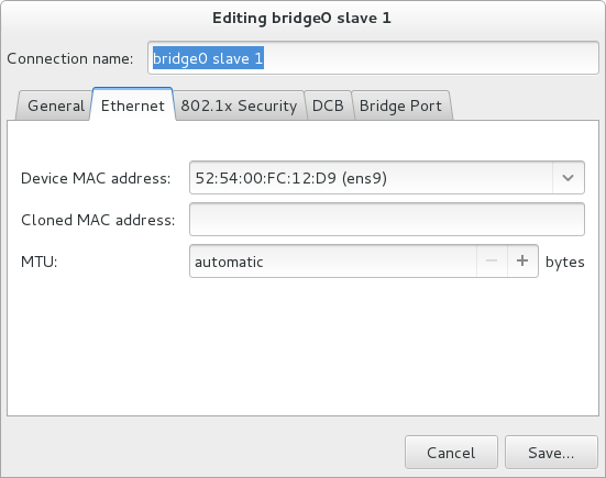 NetworkManager グラフィカルユーザーインターフェースのブリッジ接続追加