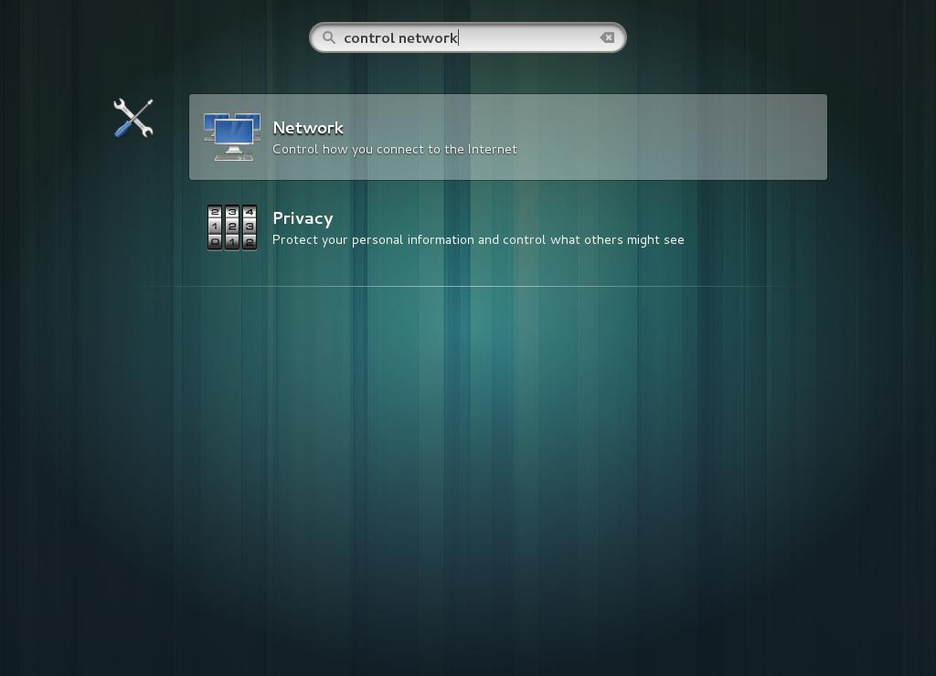 GNOME でネットワークユーティリティーを選択する