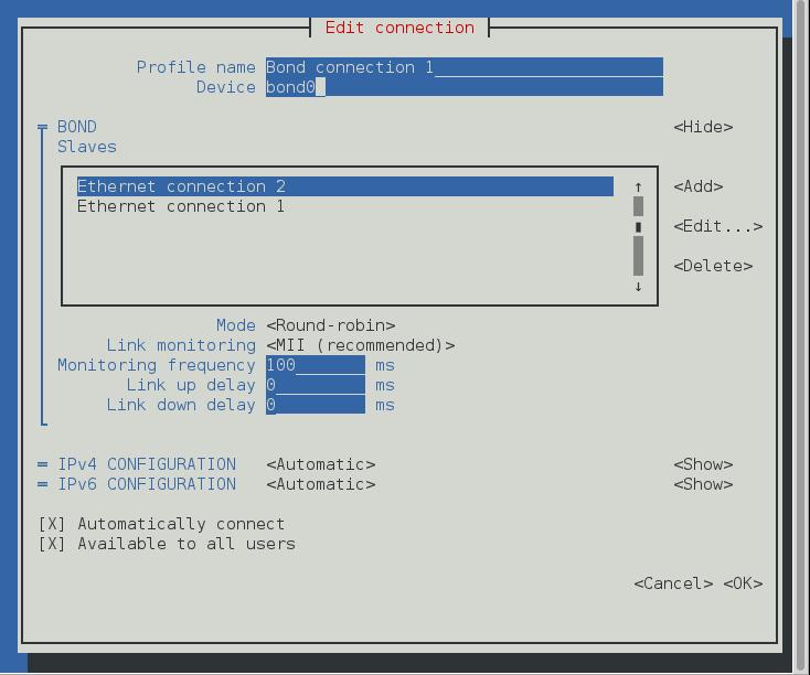 NetworkManager のテキスト形式ユーザーインターフェースでボンドを完了