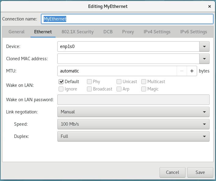 nm-connection-editor を使用した 802.3 リンクセッティングの設定