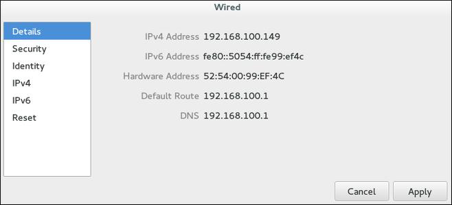 ネットワーク接続詳細ウィンドウを使用したネットワークの設定