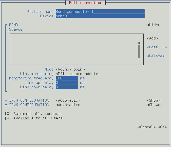 NetworkManager テキスト形式ユーザーインターフェースでボンド接続を設定するメニュー