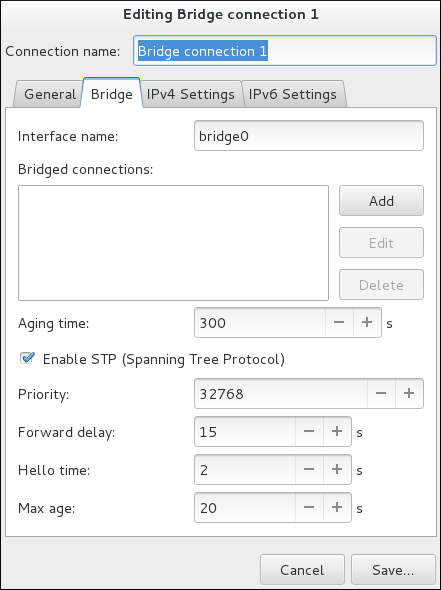 ブリッジ接続 1 の編集