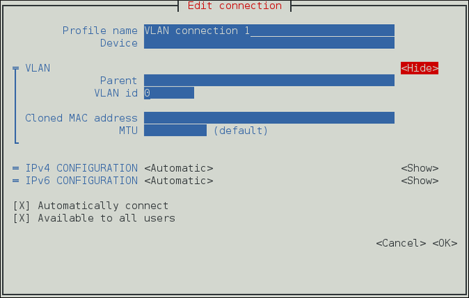 NetworkManager テキスト形式ユーザーインターフェースで VLAN 接続を設定するメニュー