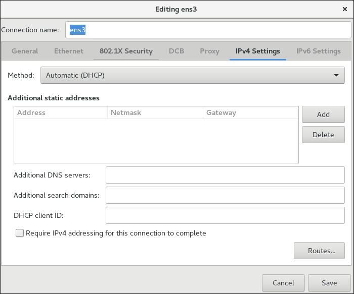 IPv4 セッティングの設定